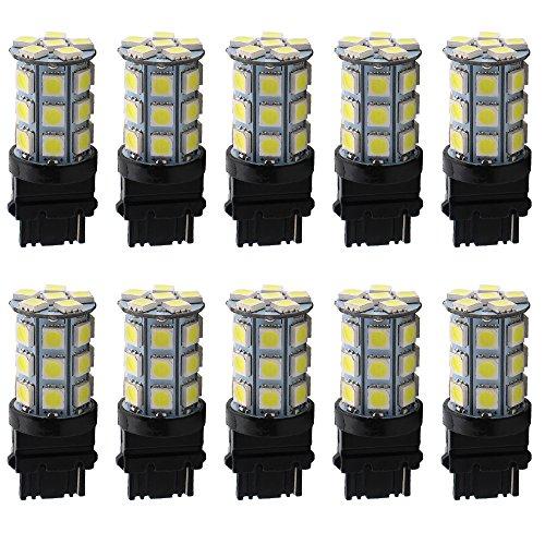 EverBrightt 10-Pack White T25 3156 5050 27SMD Parking Light Led Exterior Lights Turn Signal Bulbs DC 12V