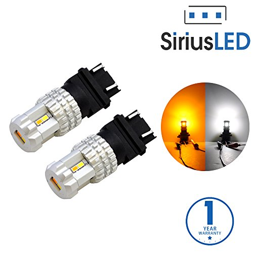 SiriusLED Ultra Compact Extremely Bright 2835 Chip Full Aluminum Dual Color White Yellow Switchback LED Fog DRL Turn Signal Tail Light Bulb Size 3157 4157NA Pack of 2