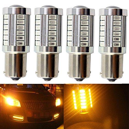 KATUR 4pcs 1156 BA15S 1141 7056 5630 33-SMD Amber 900 Lumens 8000K Super Bright LED Turn Tail Brake Stop Signal Light Lamp Bulb 12V 36W