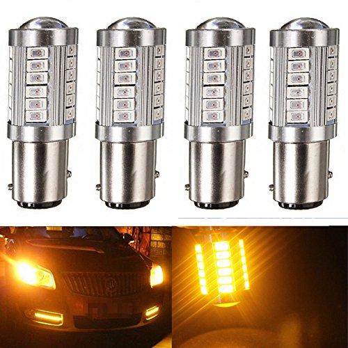 KATUR 4pcs 1157 BAY15D 5630 33-SMD Amber 900 Lumens 8000K Super Bright LED Turn Tail Brake Stop Signal Light Lamp Bulb 12V 36W