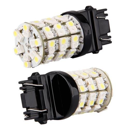 2 3157 60 SMD LED Switchback Turn Signal Lights Amber White 12V