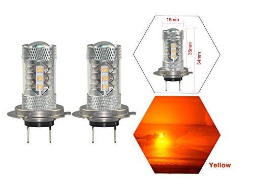 NJYTouch 2Pcs Amber Yellow 80W H7 16LEDs Bulbs Fog light Low Beam Headlight DC 9-24V