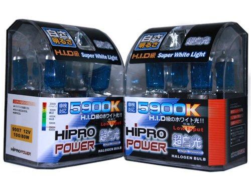 Hipro Power 9007 5900K 10080 Watt Super White Xenon HID Headlight Bulb - Low High Beam - 2 Packs