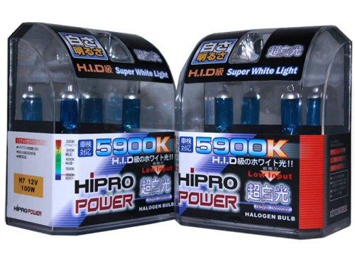 Hipro Power H7 100 Watts Super White Xenon HID Headlight Bulbs - Low Beam or High Beam - 2 Packs