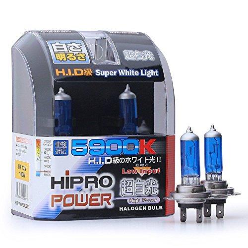 Hipro Power H7 Super White 100Watt Xenon HID Headlight Bulbs - Low Beam or High Beam