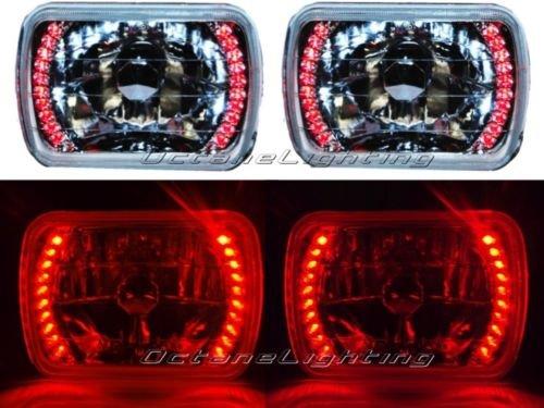 OCTANE LIGHTING 7X6 Red Led Halo Halogen Crystal Clear Headlights Angel Eye Light H4 Bulbs Pair