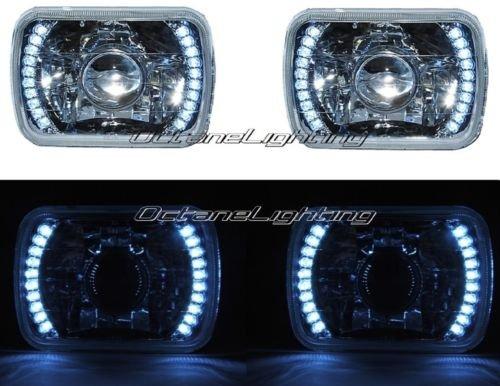 OCTANE LIGHTING 7X6 White Led Halo Projector Halogen Crystal Headlights Angel Eye Light H4 Bulbs