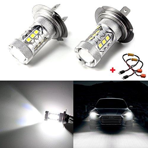 2pcs H7 Xenon White 80W Error Free LED Bulbs For VW Audi BMW Mercedes DRL Fog Lights