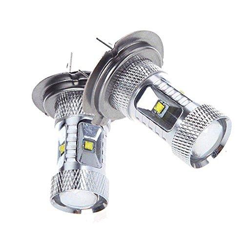 Asdomo H7 Led bulbs Projection DRL Fog Light LED Bulb 6000K Xenon White Color 30W Pack of 2
