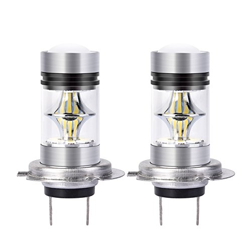 Catinbow LED Fog Light Bulbs H7 White 6000K High Power 100W Auto Fog Light Bulb Replacement 2323 SMD LED Bulbs for Fog light DRL 1800LM - 2 Pcs