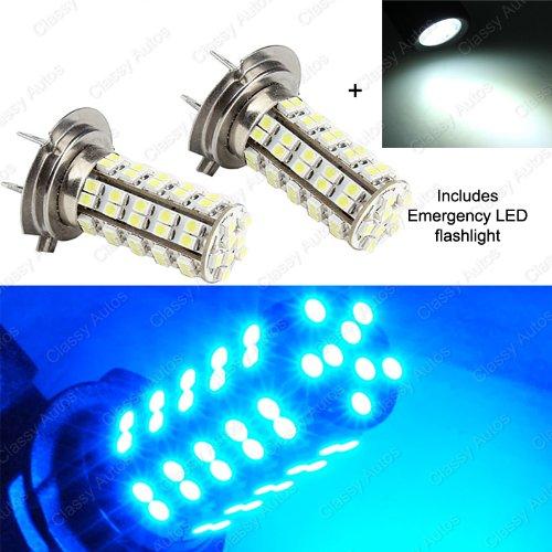 Classy Autos H7 LED Bulbs BLUE 68 SMD DRL Fog Light High Beam A Pair