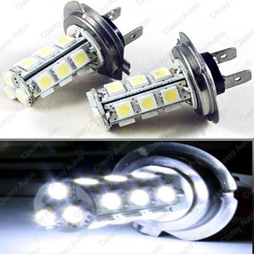 Classy Autos H7 LED Bulbs White 18-SMD 5050 DRL Fog Light Headlight A Pair