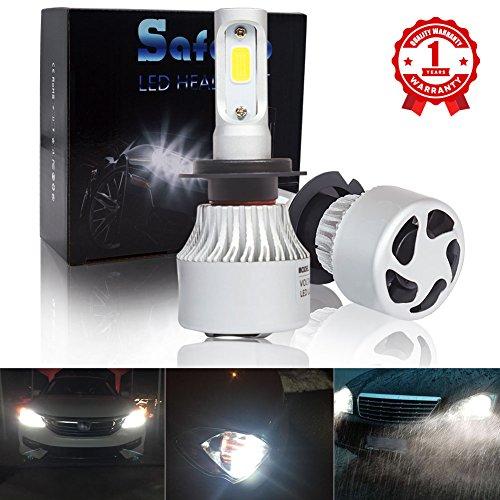 H7 Car LED Headlight Kit Bulbs - Safego 8000lm COB Chip Auto LED Light Conversion Kit 12v Replace for Car Halogen Lights or HID Bulbs S2-H7