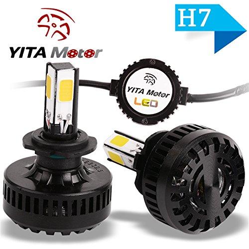 YITAMOTOR H7 LED Headlight Bulb 6000k 4-Sided COB Led 120W 12000LM Single Beam Hi  Lo Kit Cool White Fog Light Bulbs