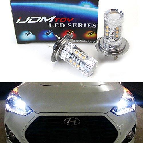 iJDMTOY Max 80W High Power CREE Q5 Type H7 LED Bulbs For Hyundai Genesis Sonata Veloster Accent on High Beam Daytime Running Lights