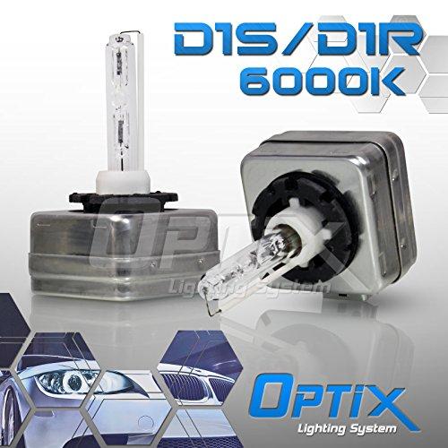 Optix D1S D1R D1C HID Xenon Headlight Replacement Bulbs - Low Beam - 6000K Diamond White - Pack of 2 Bulbs