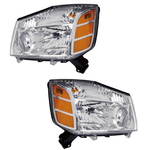 04-07 Nissan Armada Titan Pickup Truck Headlights Headlamps Lights Lamps Pair