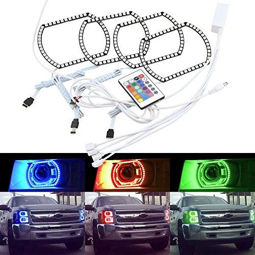 NSLUMO Horseshe U Shape 5050SMD RGB Color LED Halo Rings Angel Eyes For 2007-2014 GMC Sierra  Chevy Silverado Truck Headlight Retrofit