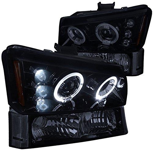 Chevy Silverado Avalanche Glossy Black Halo Projector HeadlightsSmoke Bumper