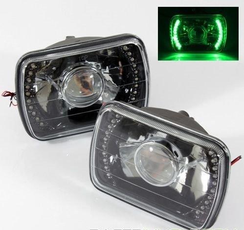 1996-2012 Chevy Express 1500 2500 3500 7x6 H6052H6054 Semi-Sealed Beam Black Diamond Green LED Projector Headlights
