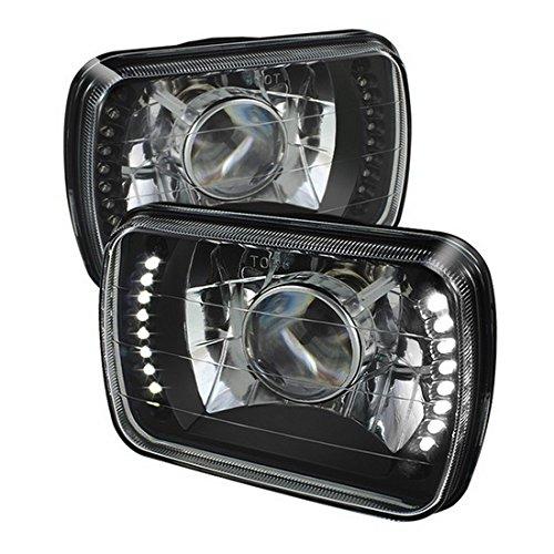 2003-2012 Ford E-250 E-350 Super Duty 7x6 H6052H6054 Semi-Sealed Beam Black Diamond White LED Projector Headlights