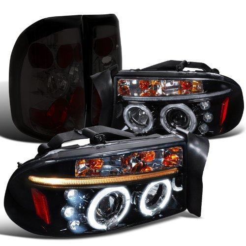 Dodge Dakota Glossy Black Halo Led Projector Headlights Smoke Altezza Tail Lamps