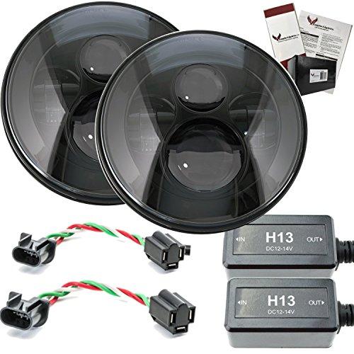 Eagle Lights 7 Round Black LED Projector Headlights for Jeep Wrangler CJ JK TJ 97-2015 Set of 2