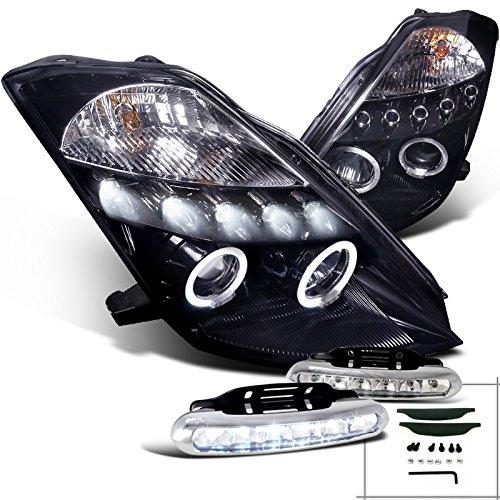For Glossy Black Smoke Nissan 350Z Halo LED Projector HeadlightsLED Fog