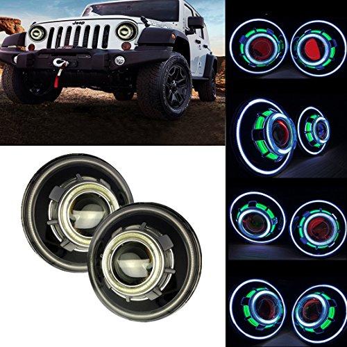 SXMA 7 Inch LED HeadlightsLED Projector Headlights with Halo Angel Eye Demon Eye Headlights for Jeep Wrangler CJ LJ TJ JK Rubicon Sahara Hummer H1 Hummer  Angel Eye Headlights - A