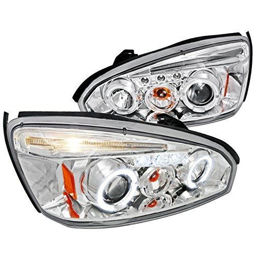 Spec-D Tuning 2LHP-MBU04-TM Chevy Malibu Chrome Clear Angel Eyes Led Projector Headlights
