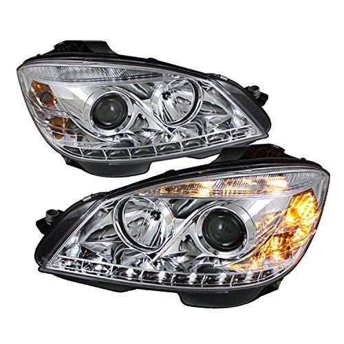 Spyder Auto PRO-YD-MBW20408-DRL-C Mercedes Benz C-Class W204 Chrome DRL LED Projector Headlight