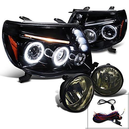 Tacoma Glossy Black Halo LED Projector HeadlightsSmoke Fog Lamps