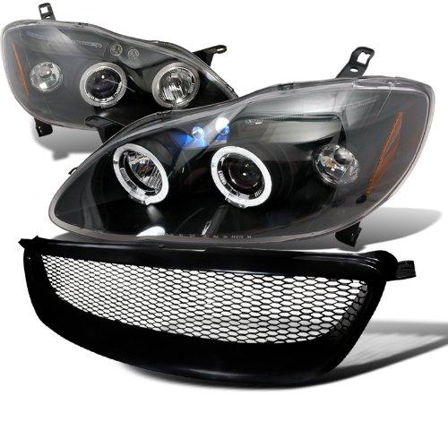 Toyota Corolla Black Halo LED Projector Headlights Black Mesh Grille