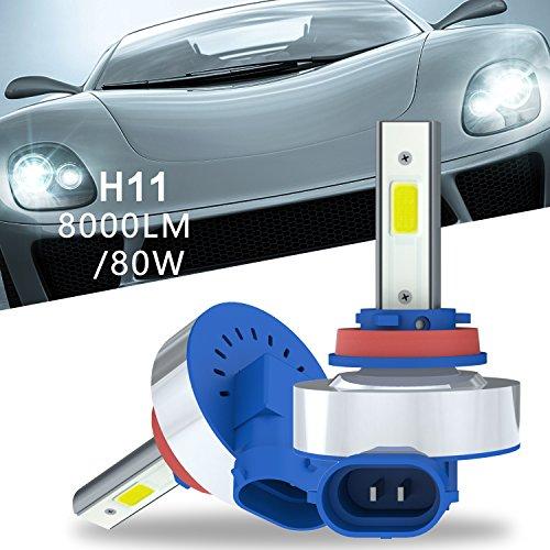 Aokairuisi H11 H8 H9 Auto Car LED Headlight Bulb 80W 6500K 8000LM LED Headlamp Conversion Kits HiLo Beam Lighting Fog Light Car Bulb 2 Pack