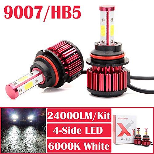 Autofather Car LED 9007 HB5 Headlight Foglight Bulbs Upgrade Headlamp High-Low Dual Beam  Fog Lights  DRL 12000LMBulb 24000LMPair Super Bright 6000K White
