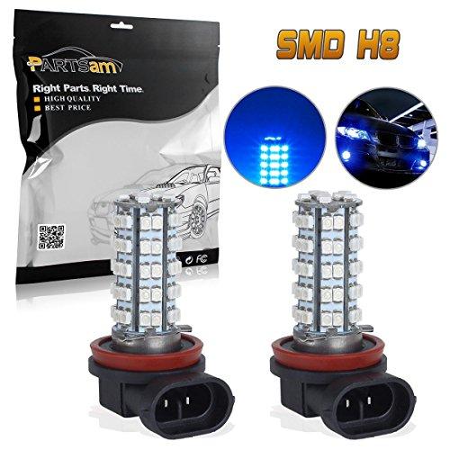Partsam 2x H8 H11 64212 Ultra Blue Off-road Fog Light Driving Lamp Light Bulb 68 3528 SMD Car LED Bulbs With Projectors