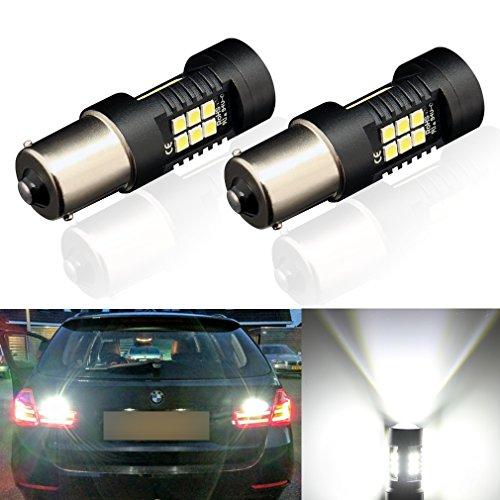 ToAUTO 2 x 1156 LED Bulbs White Super Bright 1200 Lumens 3030 Chips with Projector 7506 1003 1073 1141 BA15S Car LED Lamp For Back Up Reverse Lights Tail Lights RV Lights Brake Lights 6000K 12V-24V