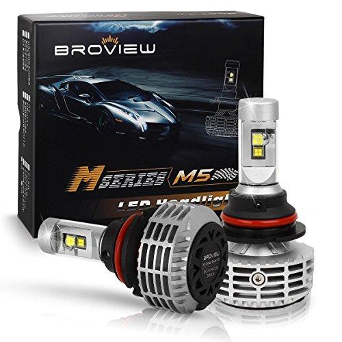 BROVIEW M5 44W 5 Colors 8000K LED Headlights - 6000LM 9004 HB1 -Cree Chip - PnP - Replaces HalogenXenon HID Headlights Headlight Conversion Kit HiLo beam headlamp Dual Beam Head Light 2pcsset