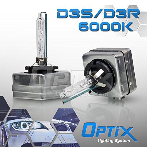 Optix - 35W D3S Xenon HID Headlight Bulbs 6000K Pair - D3R HID Replacement Bulbs - Diamond White