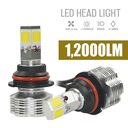 NJYTouch H13 110W 12000LmPair 6000K White LED Headlight Bulbs 4-Sided COB Head Light Led Headlamp Conversion Kit