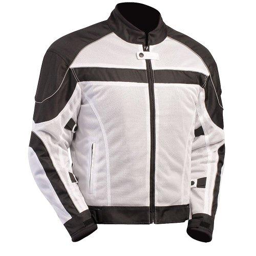 BILT Techno Mesh Motorcycle Jacket - LG WhiteBlack