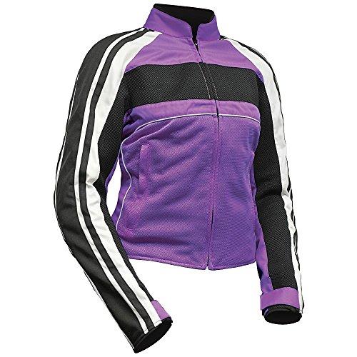 BILT Womens Retro Mesh Motorcycle Jacket - MD PurpleWhiteBlack