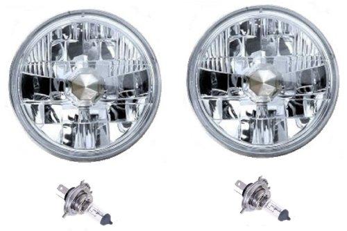 7 Diamond Crystal Clear H4 Conversion Headlight Halogen Headlamp Light Bulb 6055W Pair