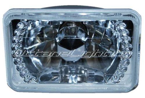 OCTANE LIGHTING 1 4X6 White Led Halo Drl Halogen Headlight Headlamp Light Bulb Crystal Clear