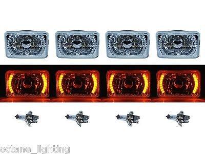 OCTANE LIGHTING 4X6 Amber Led Halo Drl Halogen Headlight Headlamp Light Bulbs Crystal Clear Set