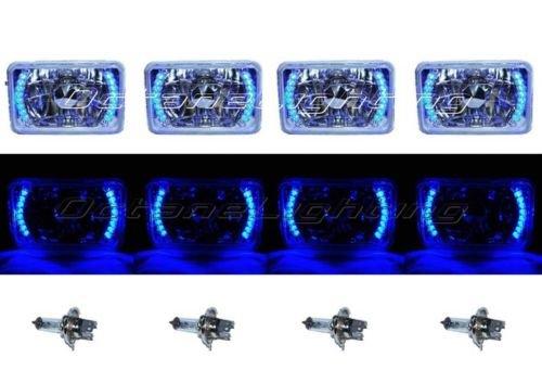 OCTANE LIGHTING 4X6 Blue Led Halo Drl Halogen Headlight Headlamp Light Bulbs Crystal Clear Set