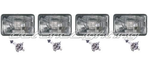 OCTANE LIGHTING 4X6 Halogen Semi Sealed Stock Glass H4 Headlight Headlamp Light Bulbs Set