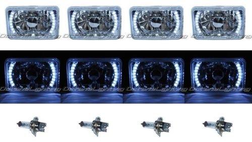 OCTANE LIGHTING 4X6 White Led Halo Drl Halogen Headlight Headlamp Light Bulbs Crystal Clear Set