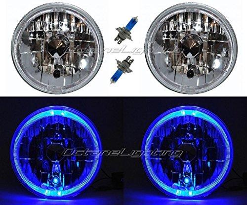 OCTANE LIGHTING 7 Blue Led Halo Angel Eyes Halogen H4 Headlight Headlamp Light Bulbs 12 Volt Pr