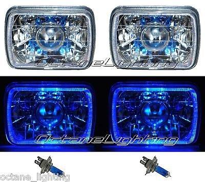 OCTANE LIGHTING 7X6 Blue Halo Projector Halogen Clear Headlights Angel Eye Headlamp Light Bulbs